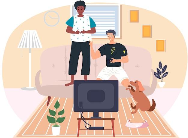 Jongens, vrienden spelen videogames. jonge mannen gamen met gamepad-controller, joystick in handen houden Premium Vector
