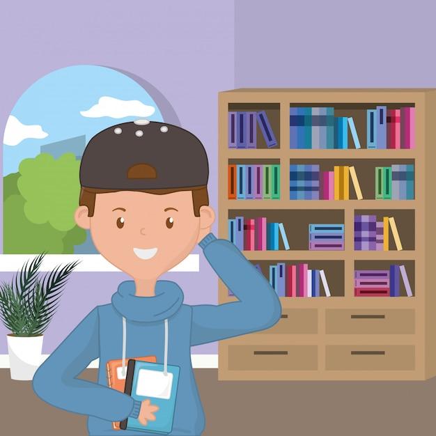 Jongensbeeldverhaal van schoolontwerp Gratis Vector