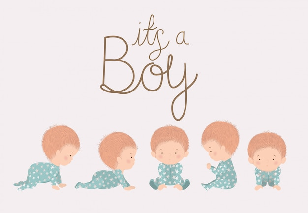 Jongensbeeldverhalen van baby showerconcept Premium Vector
