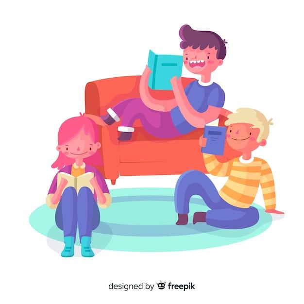 Jongeren brengen samen tijd door met lezen Gratis Vector