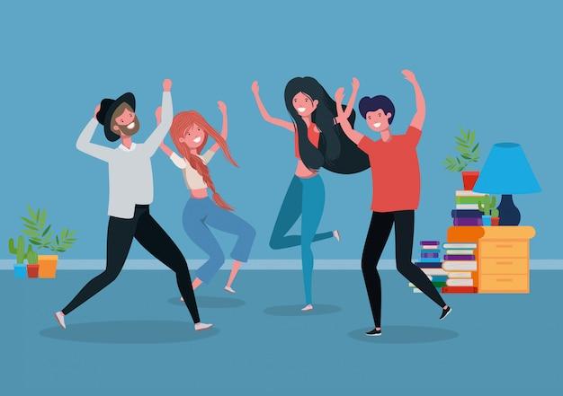 Jongeren dansen in de woonkamer Gratis Vector