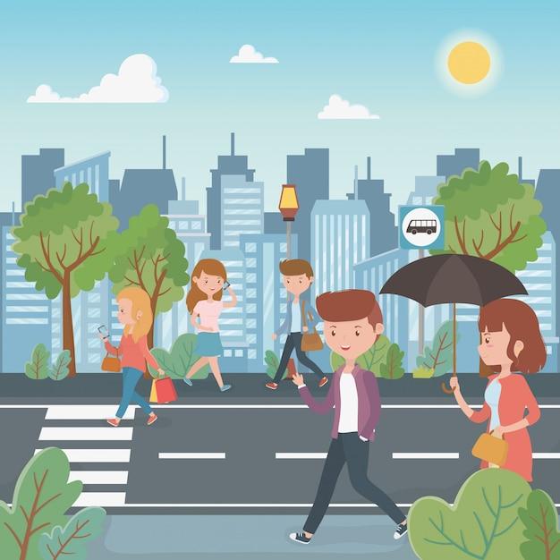 Jongeren die in de straatkarakters lopen Gratis Vector