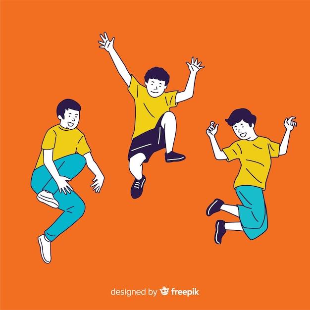 Jongeren die in koreaanse tekeningsstijl springen met oranje achtergrond Gratis Vector