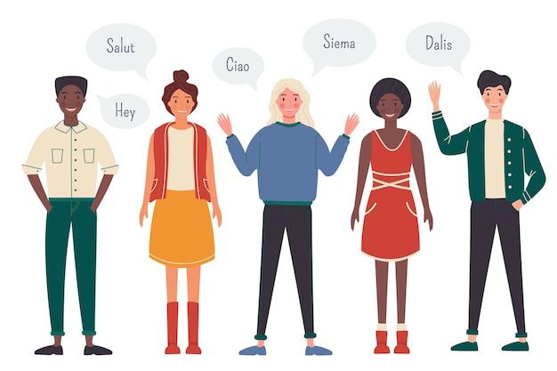 Jongeren die in verschillende talenillustratie spreken Gratis Vector
