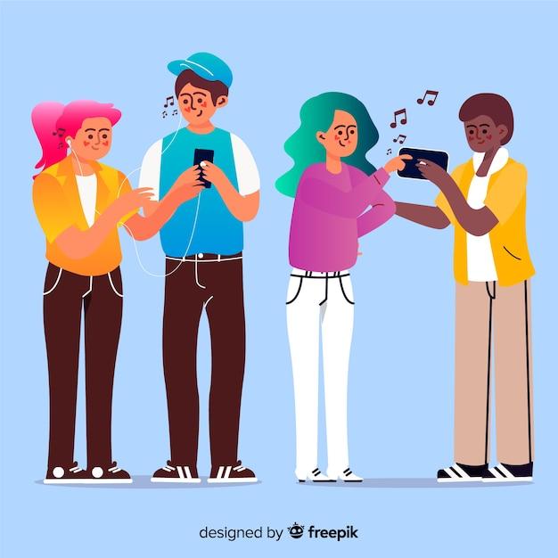 Jongeren die naar geïllustreerde muziek luisteren Gratis Vector