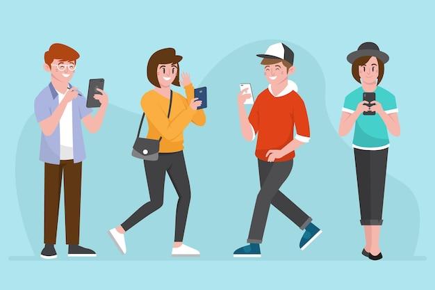Jongeren die smartphones gebruiken Gratis Vector