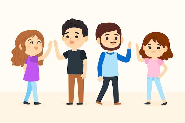 Jongeren geven high five-collectie Gratis Vector