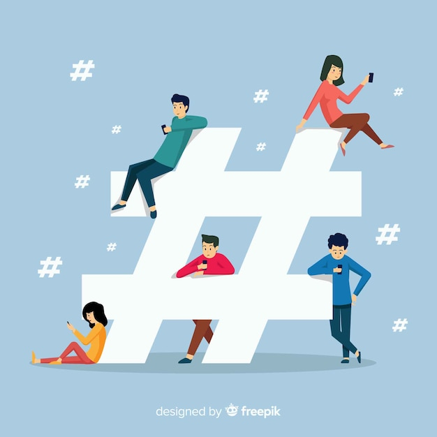 Jongeren hashtag concept achtergrond Gratis Vector
