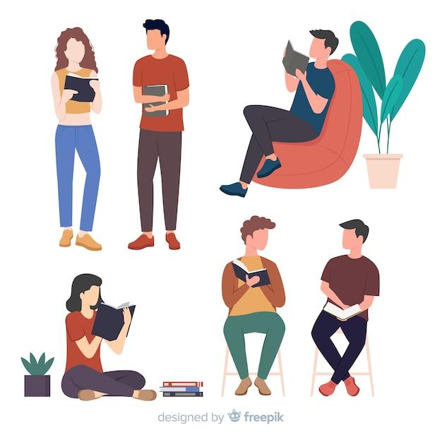 Jongeren lezen van een boek Gratis Vector