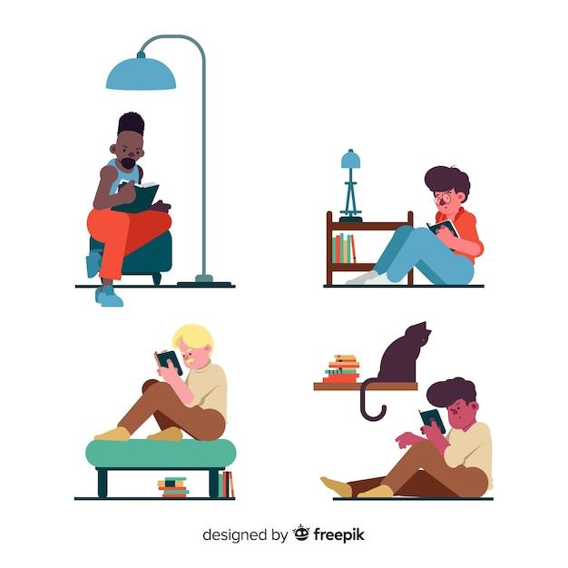 Jongeren lezen van een boekencollectie Gratis Vector