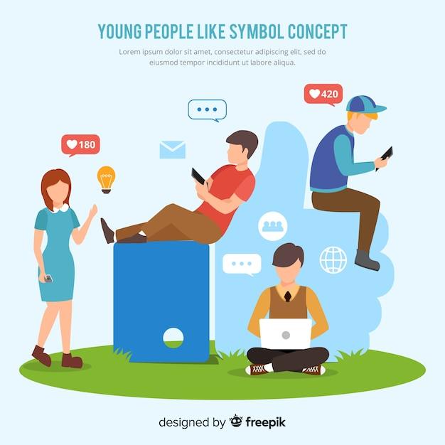 Jongeren op sociale media achtergrond Gratis Vector