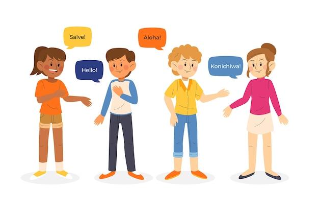 Jongeren praten in verschillende talen illustratie groep Gratis Vector