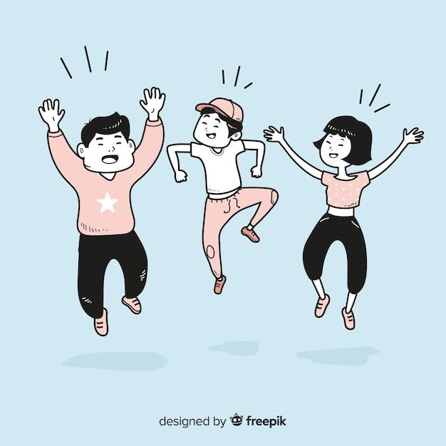 Jongeren springen in koreaanse tekenstijl Premium Vector