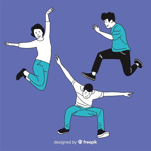 Jongeren springen in koreaanse tekenstijl Gratis Vector