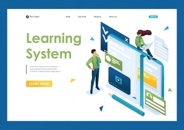 Jongeren zijn bezig met zelfstudie, online training. concept van het lesgeven aan mensen. 3d isometrisch. landingspagina concepten en webdesign Premium Vector