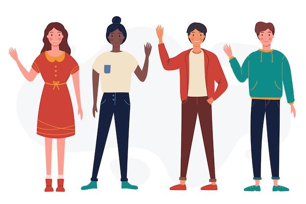 Jongeren zwaaien hand collectie Gratis Vector