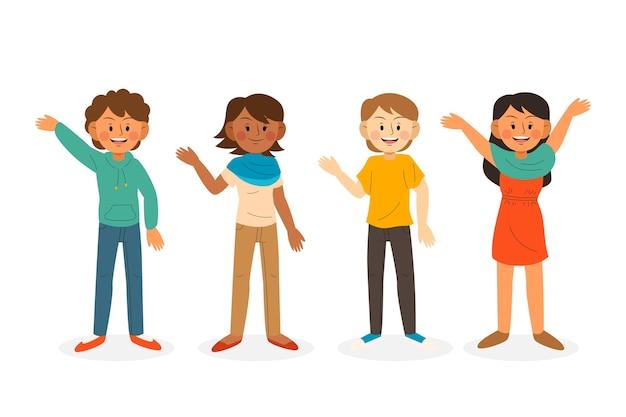 Jongeren zwaaien hand illustratie set Gratis Vector
