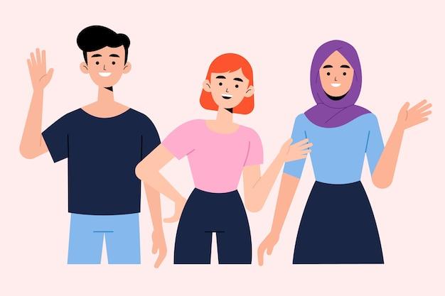 Jongeren zwaaien hand illustraties set Gratis Vector