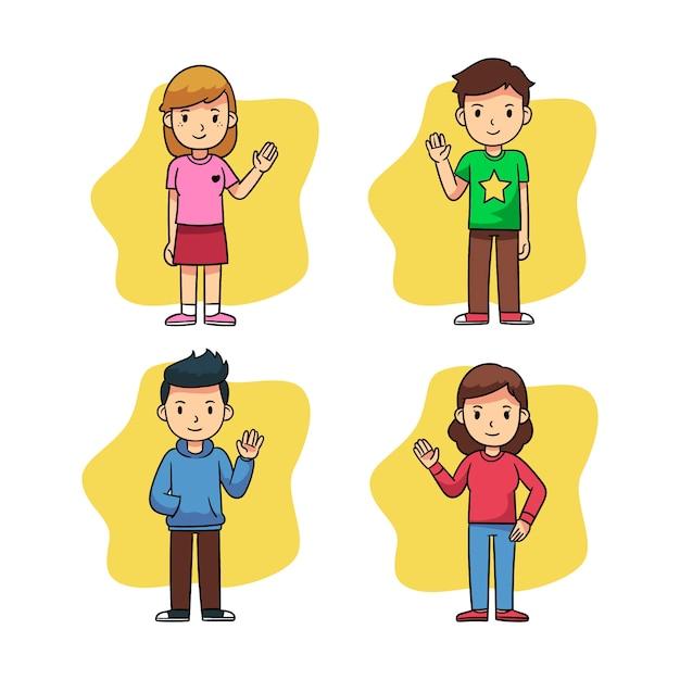 Jongeren zwaaien hand ingesteld Gratis Vector