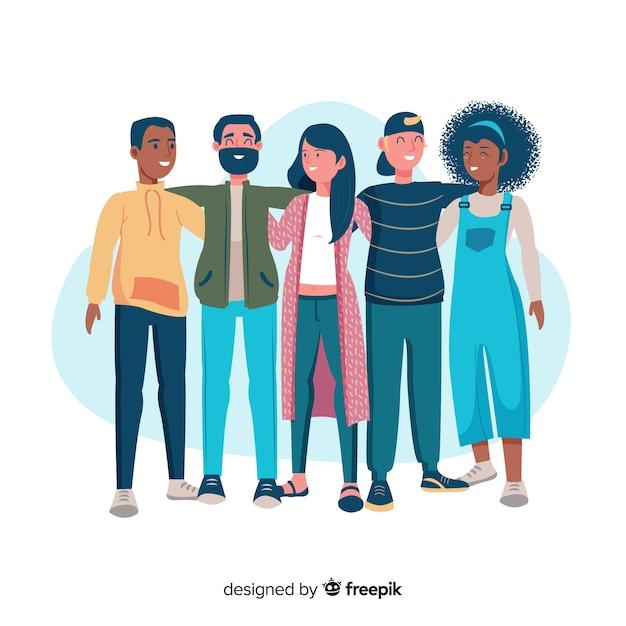 Jongerenmensen die achtergrond samen koesteren Gratis Vector
