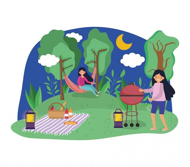 Jongerenpicknick in het park Premium Vector