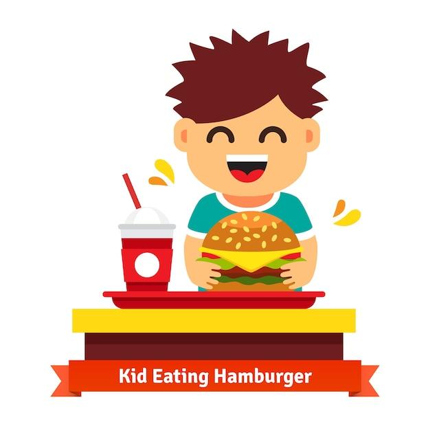 Jongetje eten en drinken op fastfood tafel Gratis Vector