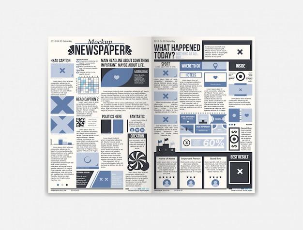 Journal krantenmalplaatje met vers nieuws Premium Vector