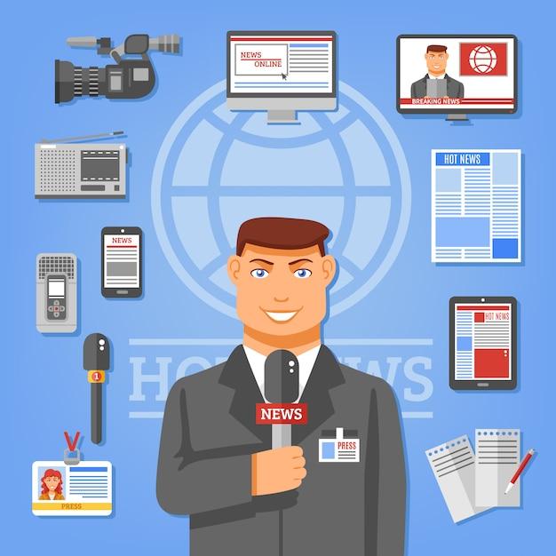 Journalist concept illustratie Gratis Vector