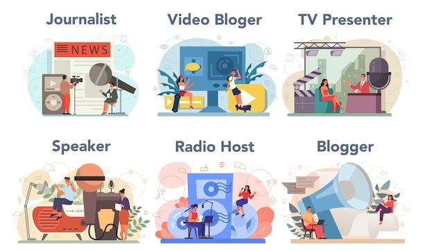 Journalist concept set. kranten-, internet- en radiojournalistiek. tv-verslaggever, videoblogger, radiopresentator, spreker. massamedia beroep. Premium Vector