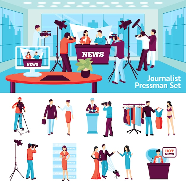 Journalist en pressman set Gratis Vector