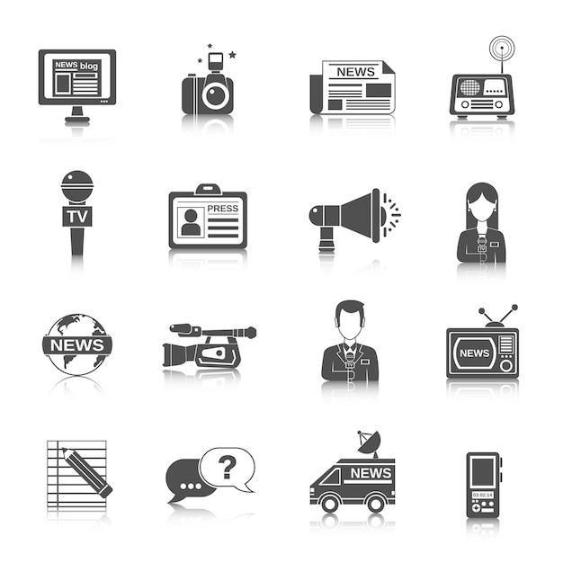 Journalist icon black Premium Vector