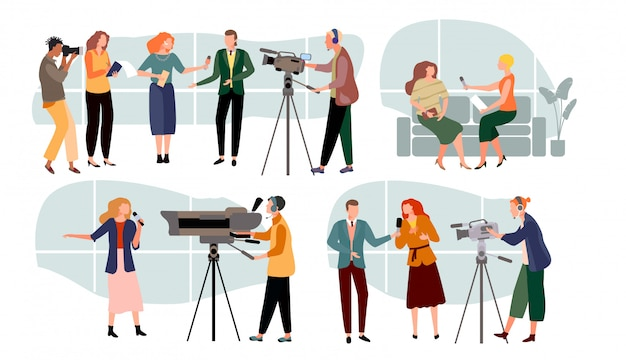 Journalist interviewt illustratie, stripfiguur nieuwspresentatoren, mensen met microfoon, massamedia ingesteld op wit Premium Vector