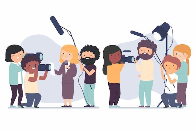 Journalistencollectie Gratis Vector