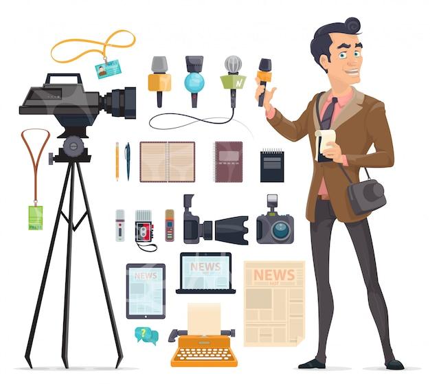 Journalistiek elementen instellen Gratis Vector