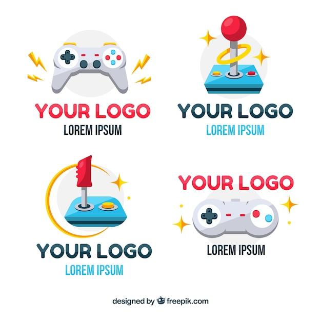 Joystick-logoverzameling met plat ontwerp Gratis Vector