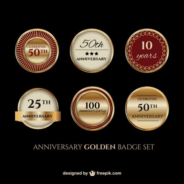 Jubileum gouden badge set Gratis Vector