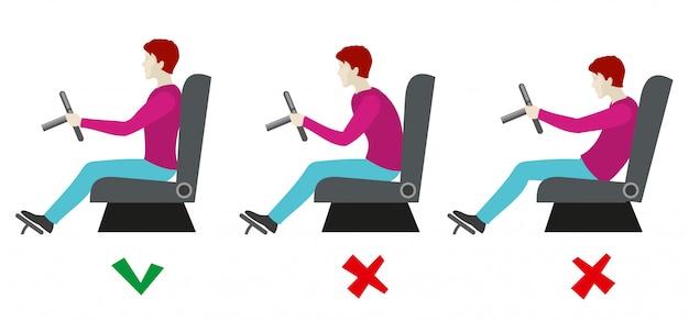 Juiste en slechte zithoudingen voor de bestuurder. info Premium Vector