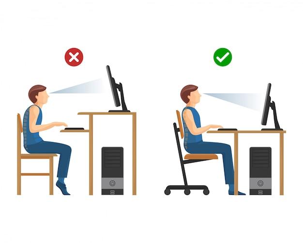 Juiste positie voor het werken aan computerinstructies. mens bij bureau met monitor boven en onder gezichtsvermogen. verkeerde en juiste manier om te zitten. Premium Vector