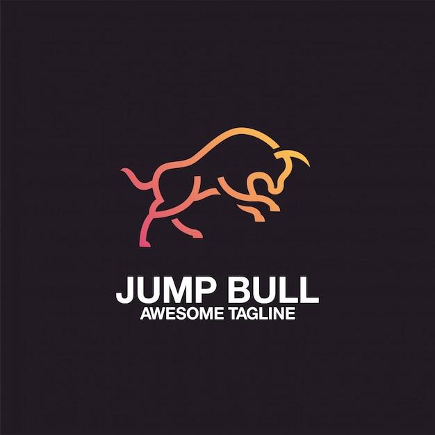 Jump bull logo-ontwerp Premium Vector