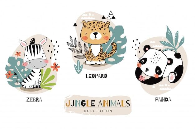 Jungle baby dieren collectie. zebra met luipaard en panda stripfiguren. de hand getrokken illustratie van het pictogram vastgestelde ontwerp. Premium Vector