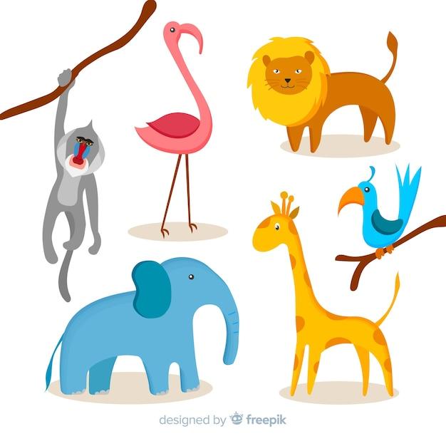Jungle dieren set: bavianenaap, flamingo, leeuw, vogel, olifant, giraf Gratis Vector
