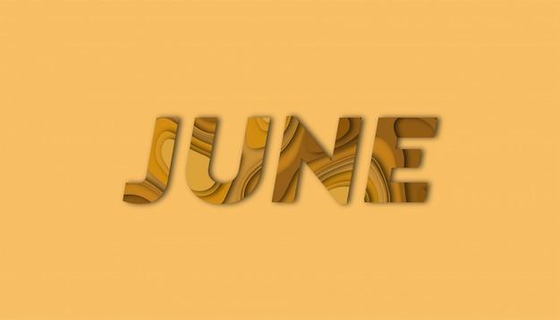 Juni belettering met papier gesneden vormen Premium Vector