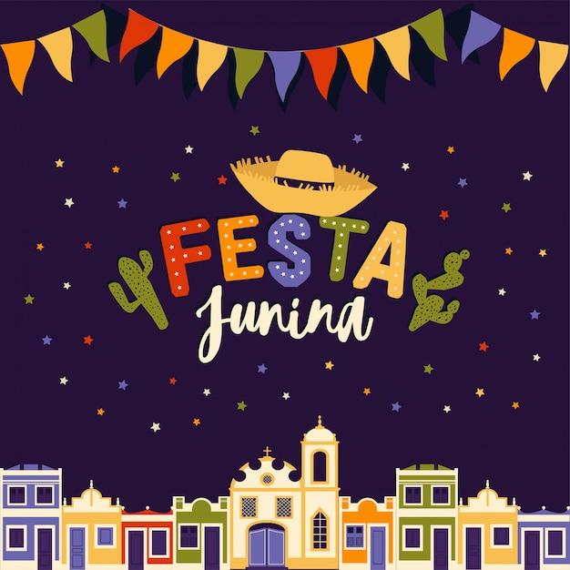 Juni-feest van brazilië festa junina-illustratie. Premium Vector