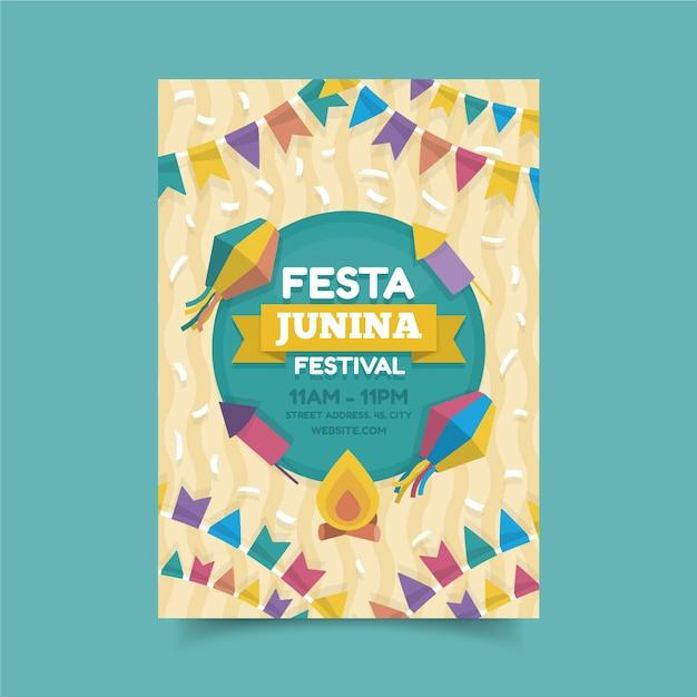 Juni festival viering poster stijl Gratis Vector