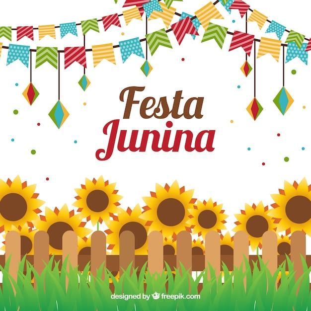 Junina feest zonnebloemen achtergrond in plat ontwerp Gratis Vector