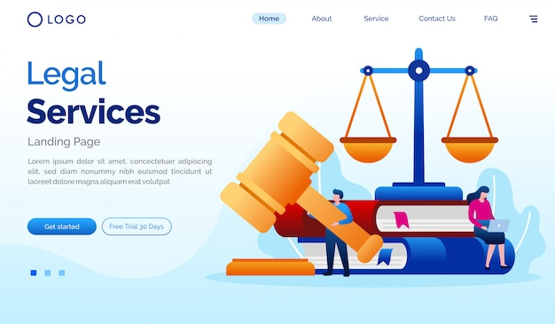 Juridische dienst landingspagina website illustratie sjabloon Premium Vector