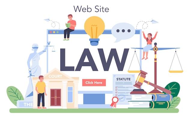 Juridische online dienst of platform. straf- en oordeelonderwijs. jurisprudentie natuurlijk. website. Premium Vector