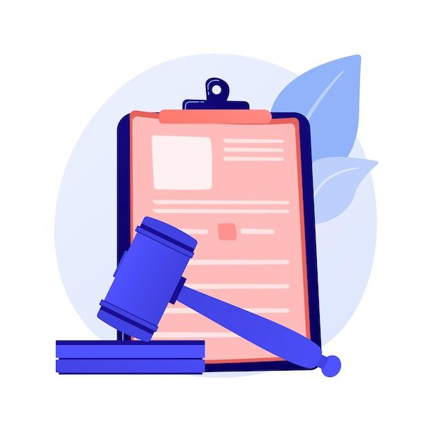 Juridische verklaring. gerechtelijke mededeling, rechterlijke beslissing, gerechtelijk apparaat. advocaat, advocaat studeren papieren stripfiguur. Gratis Vector