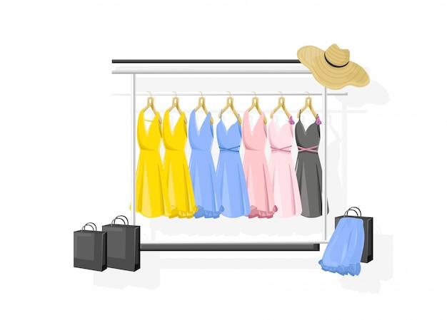 Jurk collectie vlakke stijl. kleurrijke klassieke vrouwen jurken op planken Premium Vector
