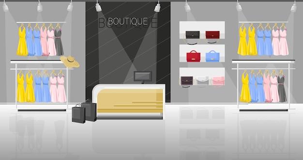 Jurk en schoenenwinkel boutique vlakke stijl illustratie Premium Vector